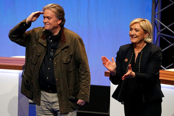 Marine Le Pen, National Front (FN) political party leader, and Former White House Chief Strategist Steve Bannon attend the party's convention in Lille, France, March 10, 2018. REUTERS/Pascal Rossignol
