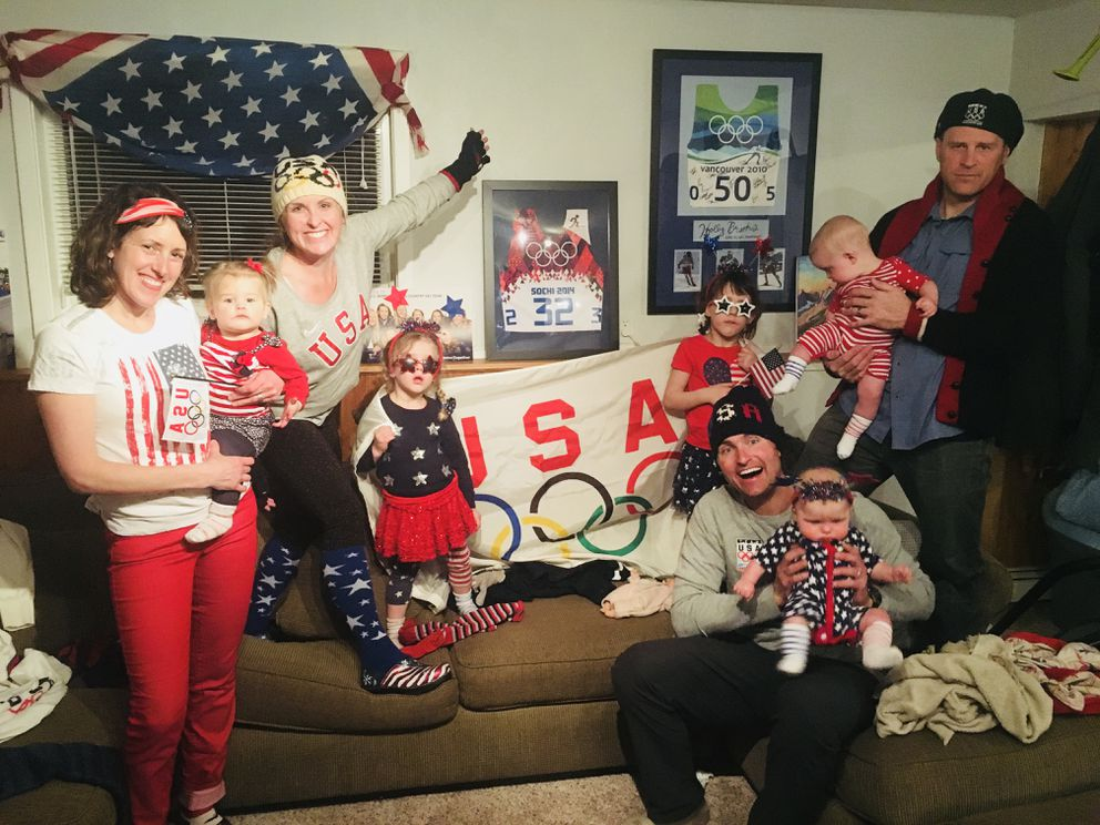 Holly Brooks hosted a viewing party for the women's 4×5-kilometer relay event. From left, Calisa Kastning, Signe Kastning, Holly Brooks, Svea Kastning, Sylvie Kastning, Rob Whitney, Ruby Whitney (in Rob's arms), Brooks Whitney, Andy Kastning. (Photo courtesy Calisa Kastning)