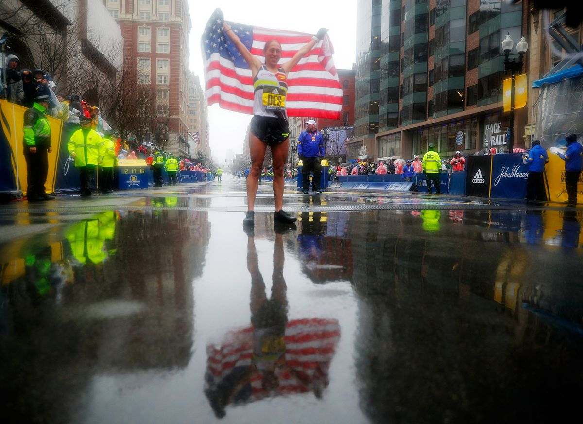 Desiree Linden of the U.S. celebrates after winning the women's division of the 122nd Boston Marathon. REUTERS/Brian Snyder