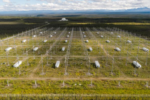 The Ionospheric Research Instrument (IRI), foreground, and the control building, background, at the High-frequency Active Auroral Research Program (HAARP) facility in Gakona, Alaska on Saturday, Aug. 25, 2018. The IRI, which sits on about 30 acres of land, is the world's most powerful radio transmitter, and is used to heat the ionosphere and study the physical processes at work in highest portions of Earth's atmosphere, according to Bob McCoy, director of the Geophysical Institute at the University of Alaska Fairbanks, which operates HAARP. (Loren Holmes / ADN)
