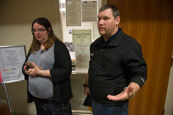 Katherine and Nicholas Armon, say their son, Austin Armon, was mistreated at Ptarmigan Elementary School in May. They watched a short hearing at the Nesbett Courthouse in the case against Lynn Sherwood on September 24, 2018. (Marc Lester / ADN)