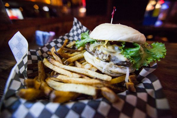 Jalapeño and Cheddar burger a The Long Branch Saloon in Anchorage, Alaska. September 29, 2014 (Tara Young / ADN archive)