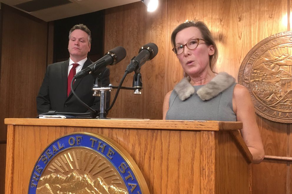 Donna Arduin, head of the Office of Management and Budget, speaks at a press conference where Alaska Governor Mike Dunleavy announced his budget proposal Wednesday, Feb. 13, 2019 at the State Capitol. (James Brooks / ADN)