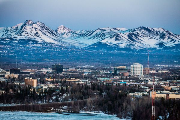 Pictured: Aerial view of midtown Anchorage, Alaska at sunset on April 25, 2012.