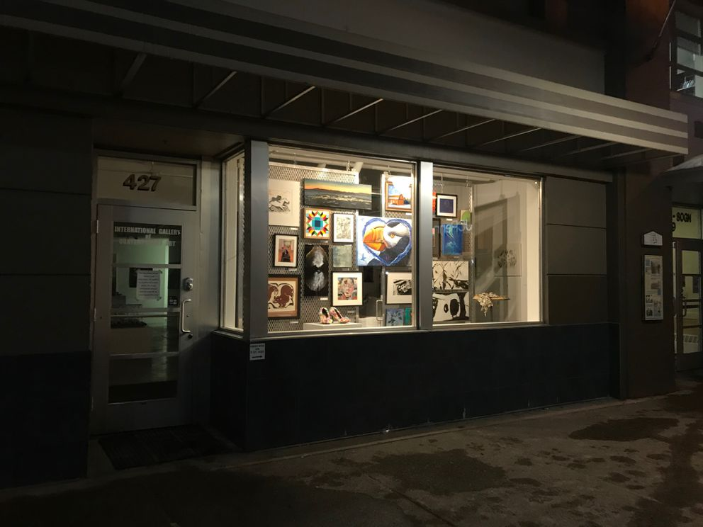 The International Gallery of Contemporary Art set up a rotating exhibit in a window while the gallery is closed due to concerns over the novel coronavirus. March 16, 2020 (Photo by Karinna Gomez)