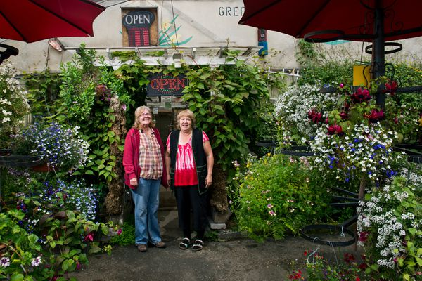Anna Sutton, left, and Patty Sutton own and operate Sutton's Brown Thumb Greenhouse on the corner of Wright Street and Tudor Road. Several generations of the Sutton family have run the business for more than 50 years. Photographed on August 23, 2017. (Marc Lester / Alaska Dispatch News)