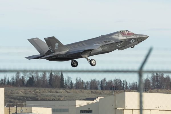 A Marines F-35 from Marine Corps Air Station Iwakuni, Japan, takes off from Joint Base Elmendorf-Richardson Tuesday, May 2, 2017 during the Northern Edge training exercise. (Loren Holmes / Alaska Dispatch News)