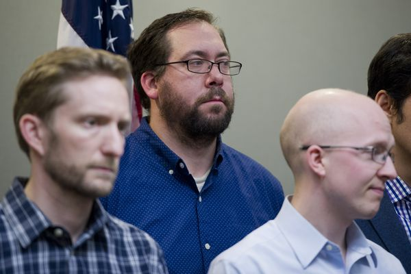 Representitive-elect Zach Fansler, of Bethel, listens at the press conference. Alaska House representatives announced a 22-member majority coalition made up of Democrats, Republicans and independents on Wednesday, November 9, 2016, at the Dimond Center Hotel in Anchorage. (Marc Lester / Alaska Dispatch News)