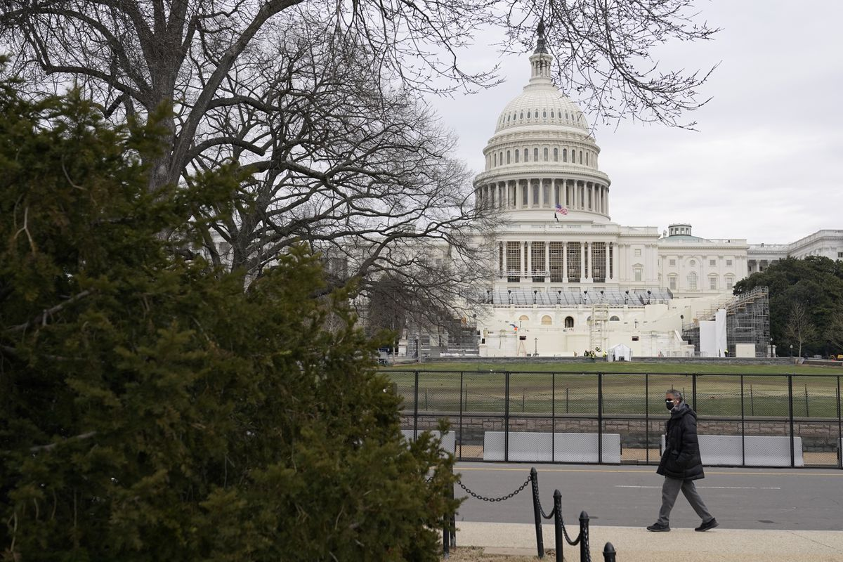 Preparations take place for President-elect Joe Biden's inauguration on the West Front of the U.S. Capitol in Washington, Friday, Jan. 8, 2021. (AP Photo/Patrick Semansky)