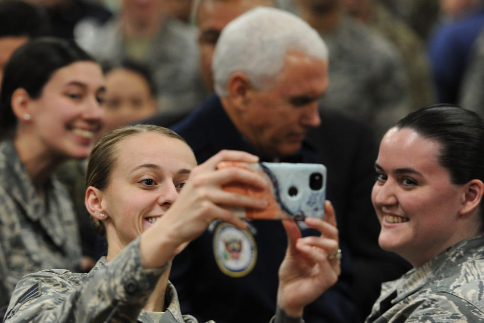 Selfie with Vice President Mike Pence during his visit with troops on Joint Base Elmendorf-Richardson during a refueling stop on Veterans Day, Sunday, Nov. 11, 2018. (Bill Roth / ADN)