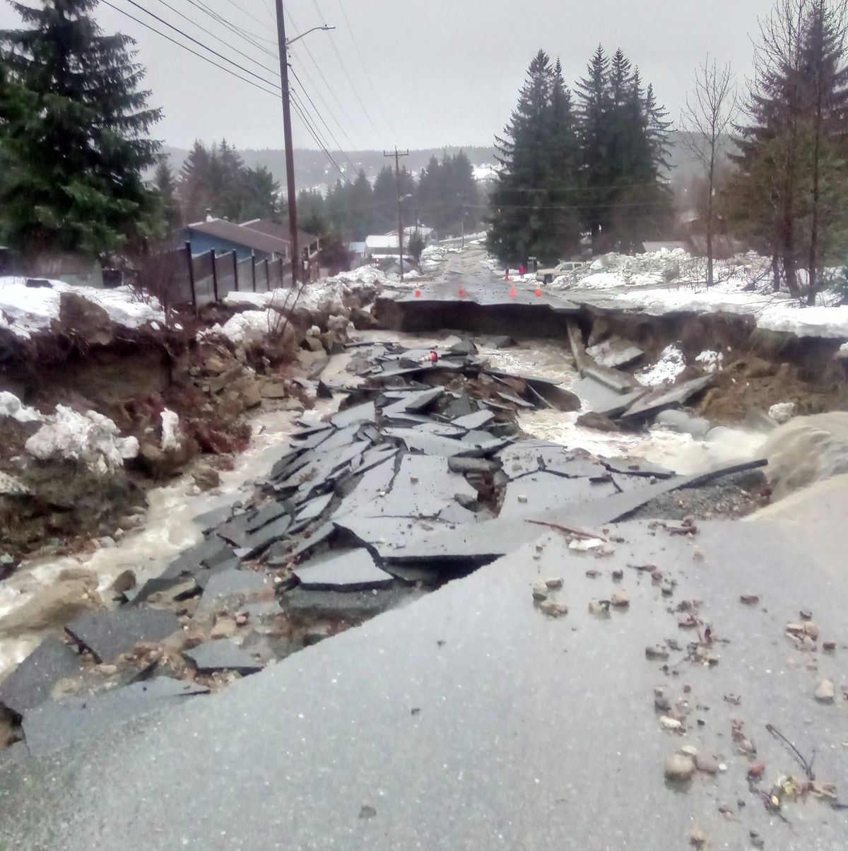Many roads were heavily damaged in Haines after heavy rain and flooding on Wednesday. (Photo provided by Darwin Feakes)