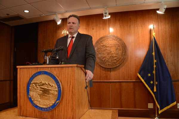Alaska Gov. Mike Dunleavy talks to reporters during a press conference on Thursday, June 17, 2021 at the Alaska State Capitol in Juneau. (James Brooks / ADN)