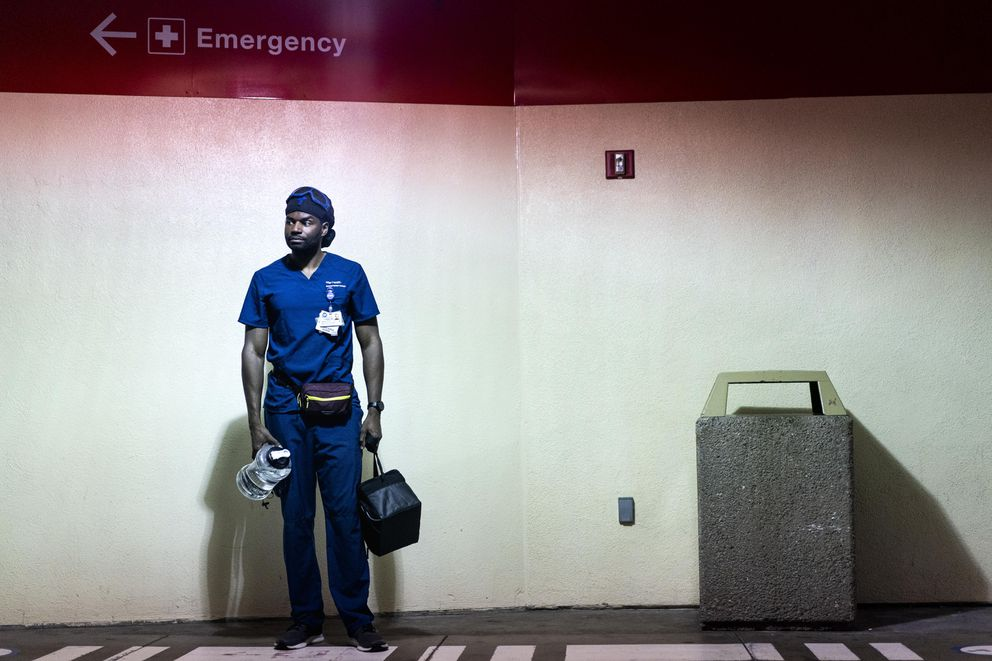 Nurse Jason Harrison emerges from UCSF Hospital after working a 12-hour shift in San Francisco on July 13, 2020. Washington Post photo by Melina Mara