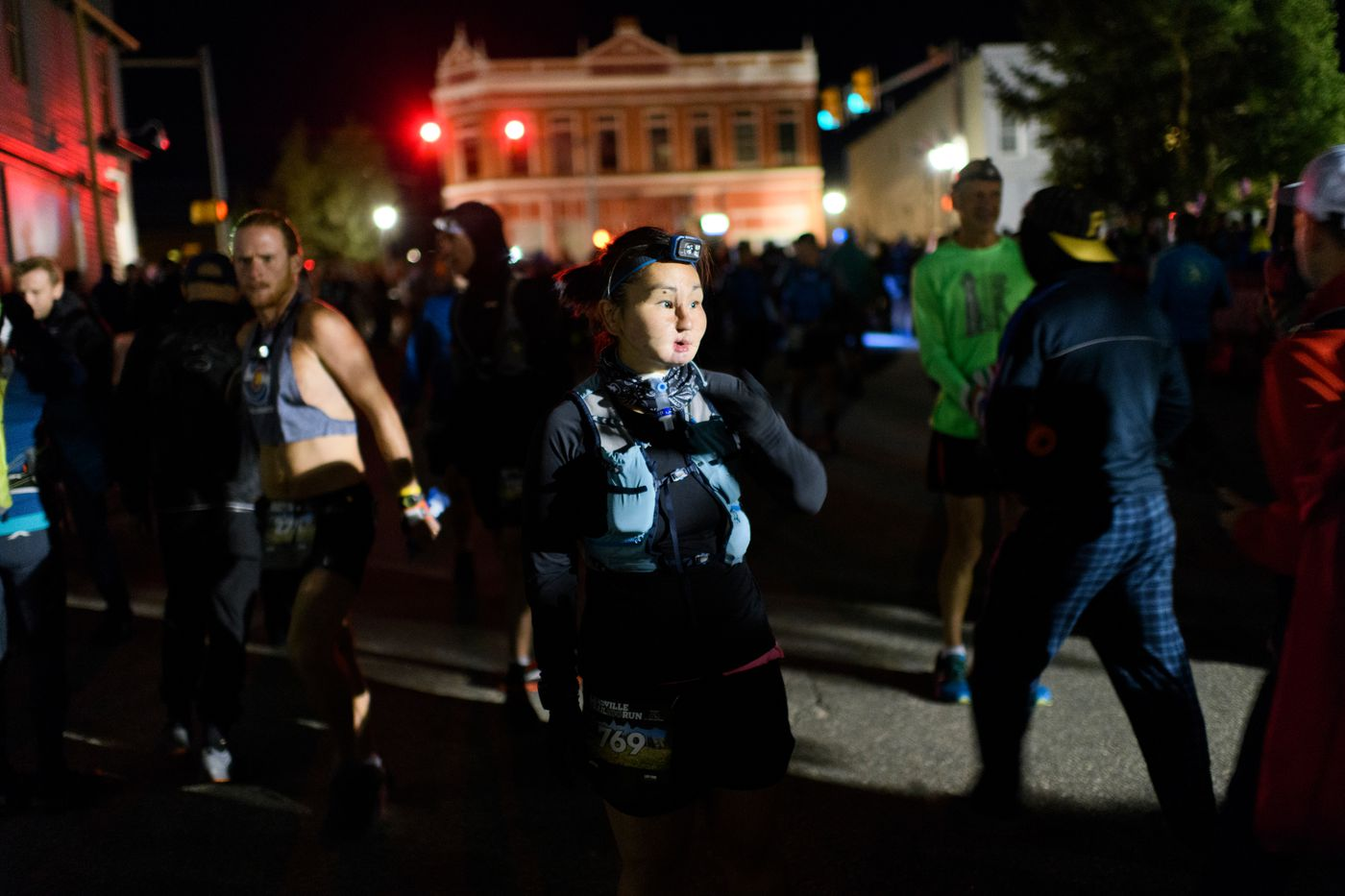 Carol Seppilu arrives at the starting line of the Leadville Trail 100 Run in Leadville, Colorado, on August 17, 2019. Seppilu survived a suicide attempt 20 years ago. Now Seppilu hopes her participation in ultramarathons can be a an example to others about overcoming difficult times. (Marc Lester / ADN)