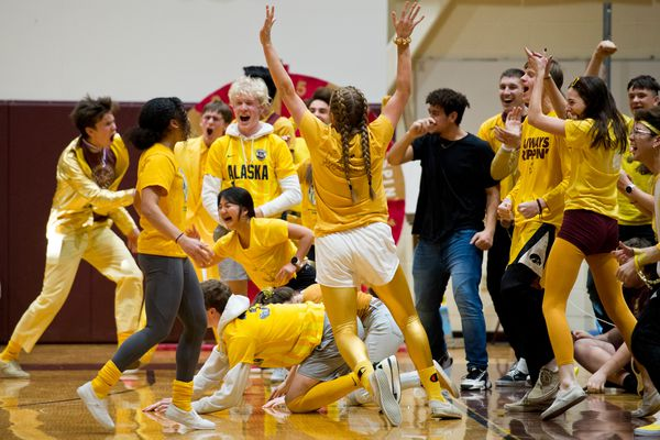 The junior class celebrates a win. Classes at Dimond High School competed in several games during the school's Spirit Olympics assembly on January 24, 2020. (Marc Lester / Anchorage Daily News)
