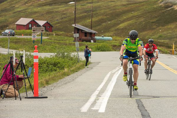 Jason Lamoreaux leads Eric Flanders at the finish of the Hatcher Pass Hill Climb Saturday, June 15, 2019. Lamoreaux won with a time of 34:59. (Loren Holmes / ADN)