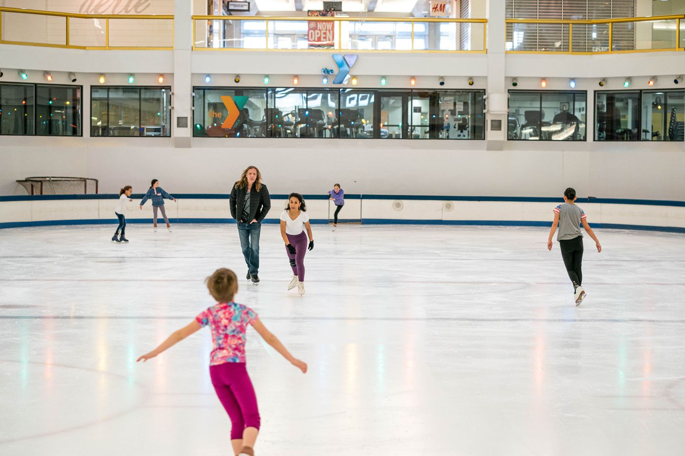 People figure skate at the Dimond Center ice rink on Wednesday, March 18, 2020 in Anchorage. (Loren Holmes / ADN)