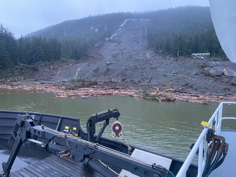 Alaska State Troopers released images taken on December 3, 2020, of the damage caused by a landslide in Haines. (Alaska State Troopers)