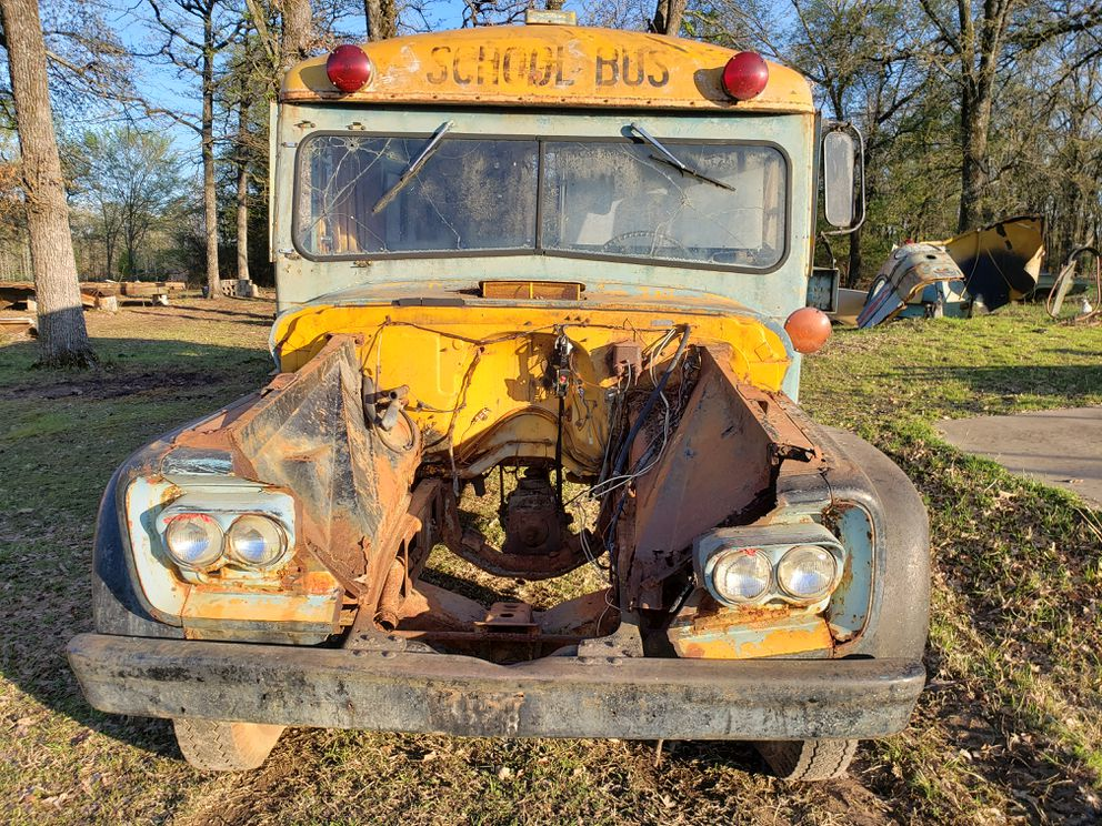 The front of a 1961 Chevy bus found in a field in East Texas in 2019 with the words 'Chugiak, Alaska ' on its side. The bus was originally brought to Alaska in 1971 and later used for several family trips up and down the Alcan. It was sold in the late 1970s to a family that needed it to return to Alabama, according to former owner Jinny Kirk. How it ended up in Texas remains a mystery. (Photo by Darin Swift)