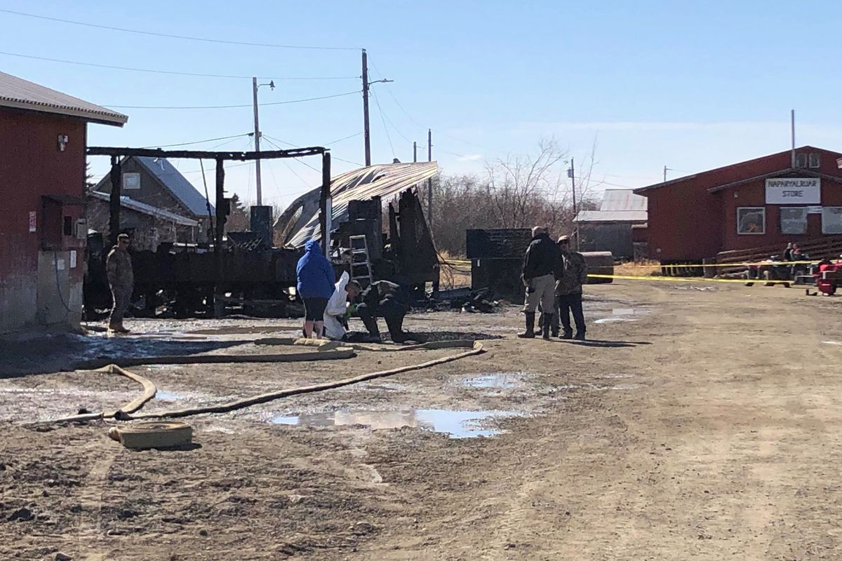 The Napakiak jail burned Sunday, April 28, 2019, killing two prisoners and injuring one jail guard. (Photo by Travis Shinabarger)