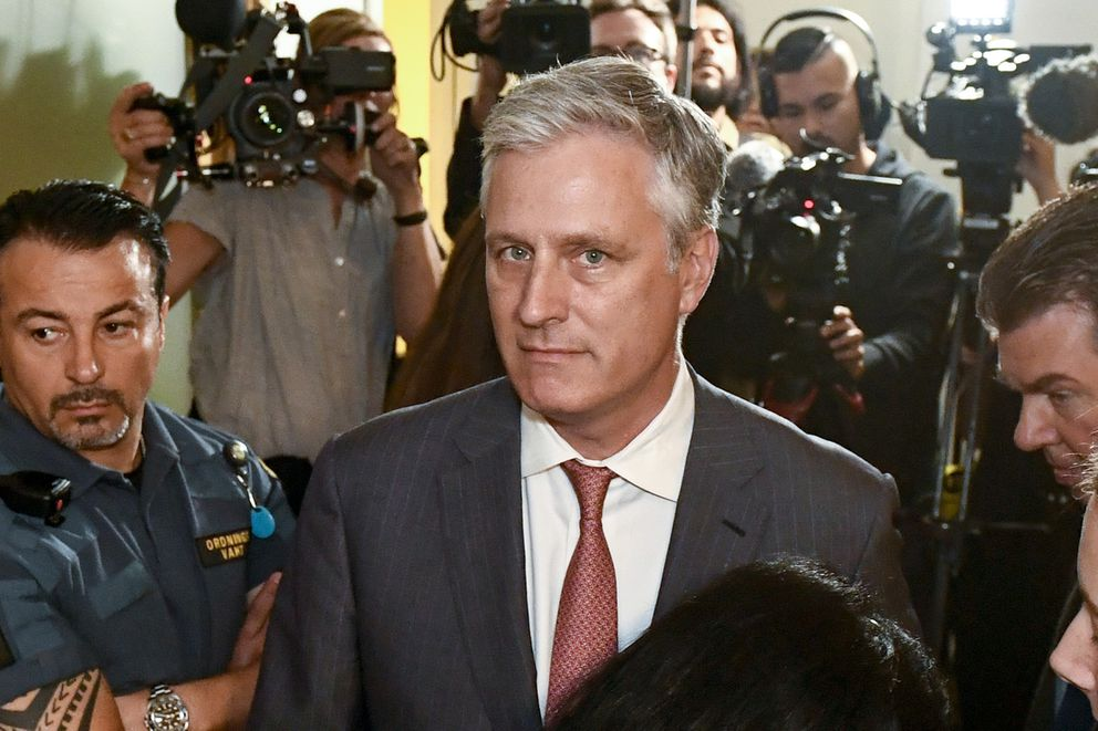 FILE - In this July 30, 2019, file photo, Robert O'Brien, U.S. Special Envoy Ambassador, arrives at the district court where U.S. rapper A$AP Rocky is to appear on charges of assault, in Stockholm, Sweden. President Donald Trump says he plans to name O'Brien to be his new national security adviser. (Erik Simander/TT via AP)