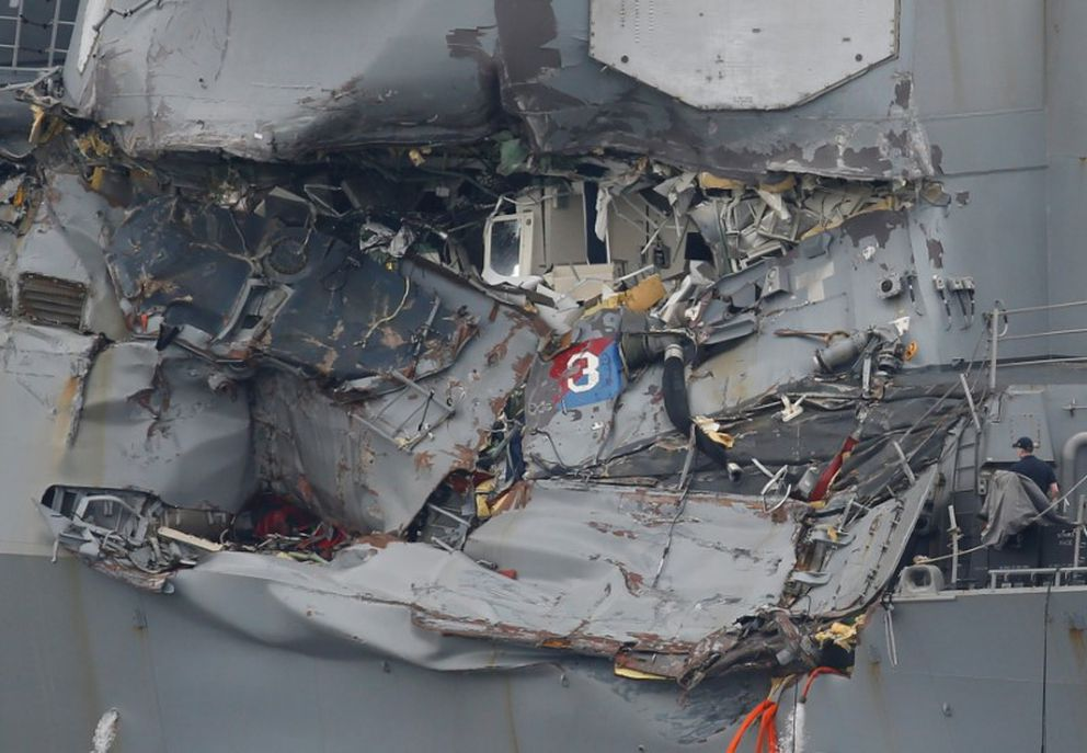The Arleigh Burke-class guided-missile destroyer USS Fitzgerald, damaged by colliding with a Philippine-flagged merchant vessel, is seen at the U.S. naval base in Yokosuka, Japan, June 18, 2017. (Toru Hanai / Reuters file)
