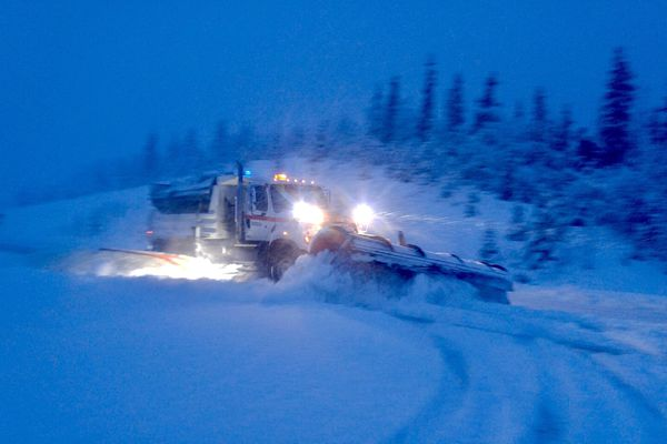 A DOT snowplow works the road near Tazlina Wednesday morning, Dec. 6, 2017. (Photo provided by DOT)