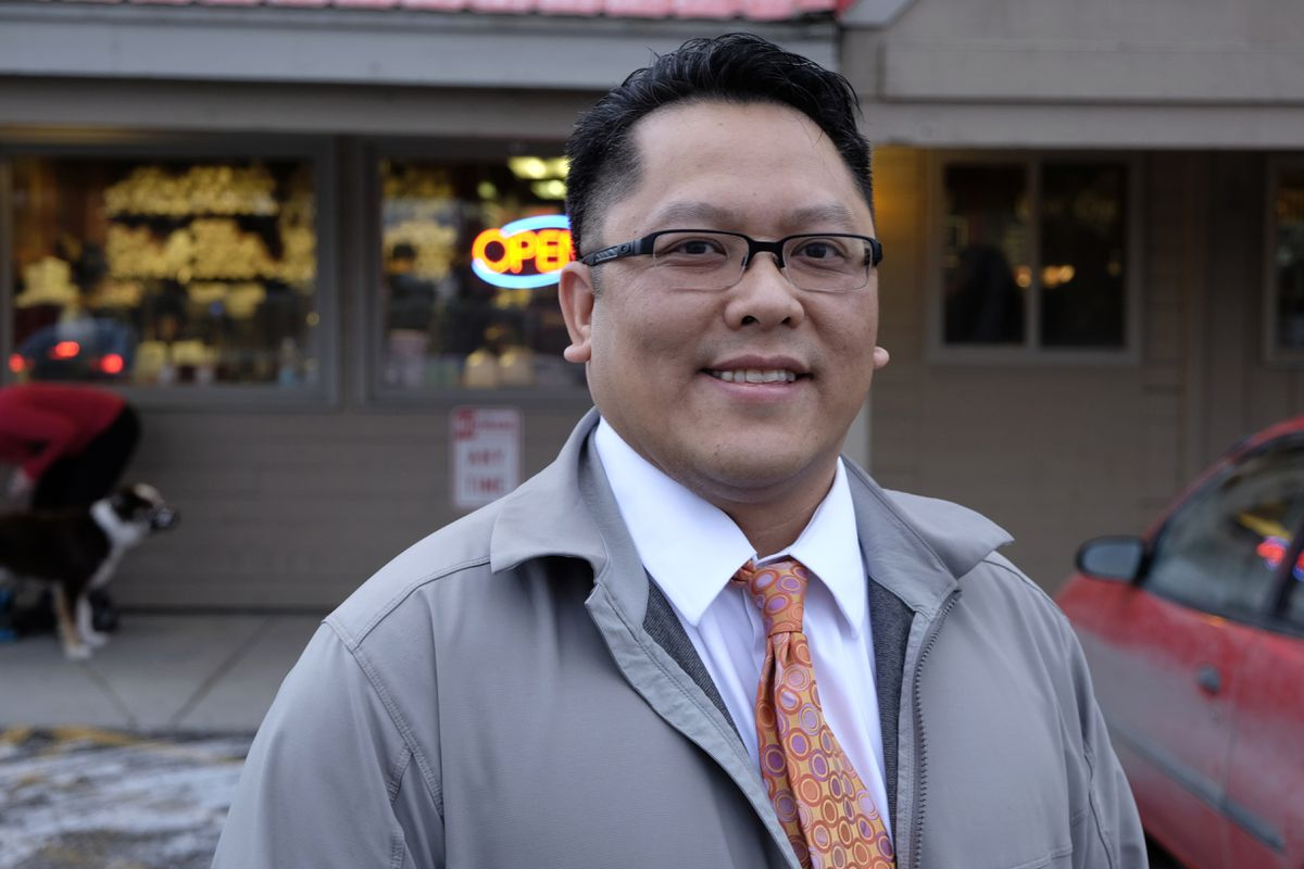Dale Tran, chief financial officer of Kaladi Brothers Coffee, at the Brayton Drive location on Friday, Jan. 1, 2016. (Marc Lester / Alaska Dispatch News)