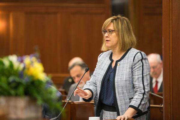 Sen. Mia Costello, R-Anchorage, the majority leader, speaks during a Senate session Wednesday, Jan. 16, 2019 at the Alaska State Capitol. (Loren Holmes / ADN)