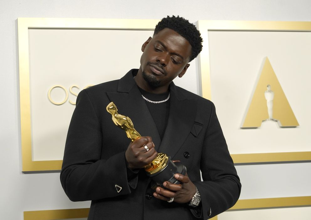 Daniel Kaluuya, winner of the award for best actor in a supporting role for 'Judas and the Black Messiah, ' poses in the press room at the Oscars on Sunday, April 25, 2021, at Union Station in Los Angeles. (AP Photo/Chris Pizzello, Pool)