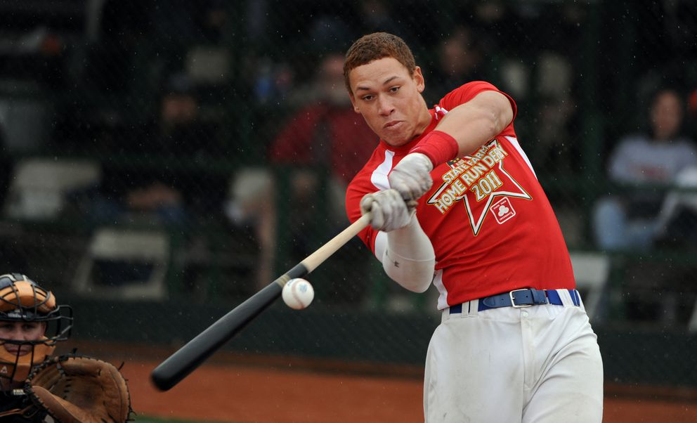 Aaron Judge of the Anchorage Glacier Pilots hits a ball during the 2011 Alaska Baseball League home run derby. (Bill Roth / Alaska Dispatch News)