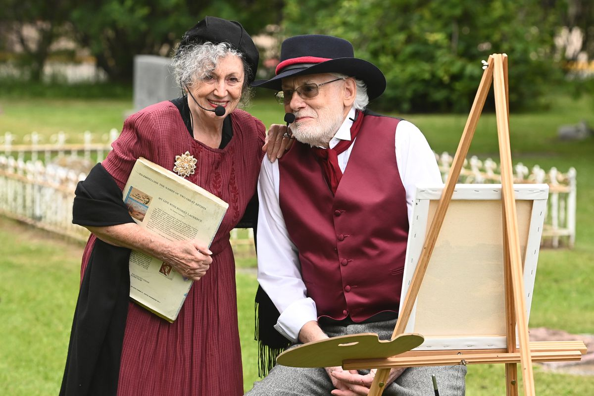 Audrey and Bruce Kelly portrayed artists Jeanne and Sydney Laurence during the 10th annual Stories at the Cemetery at Anchorage Memorial Park Cemetery on Sunday, July 11, 2021. (Bill Roth / ADN)