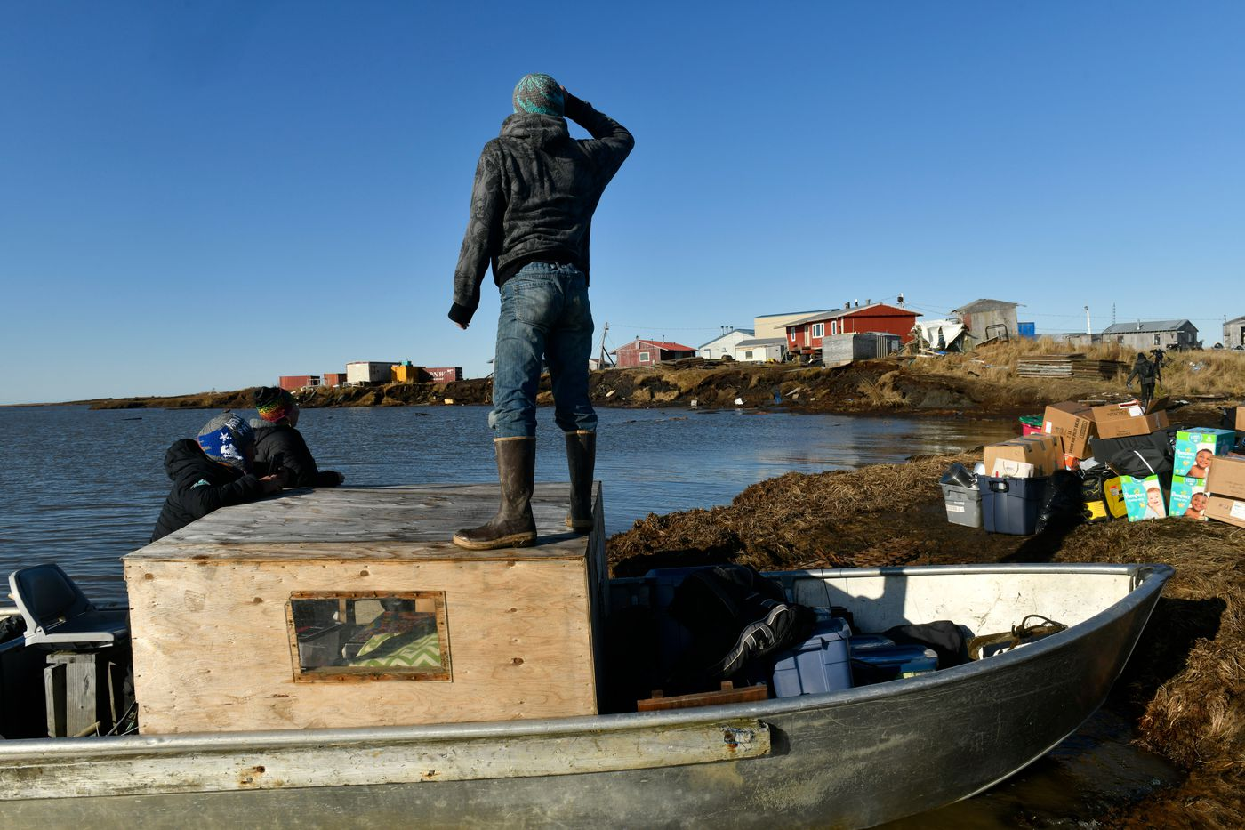 Boats are loaded in Newtok for the move to Mertarvik on Oct. 12. (Marc Lester / ADN)