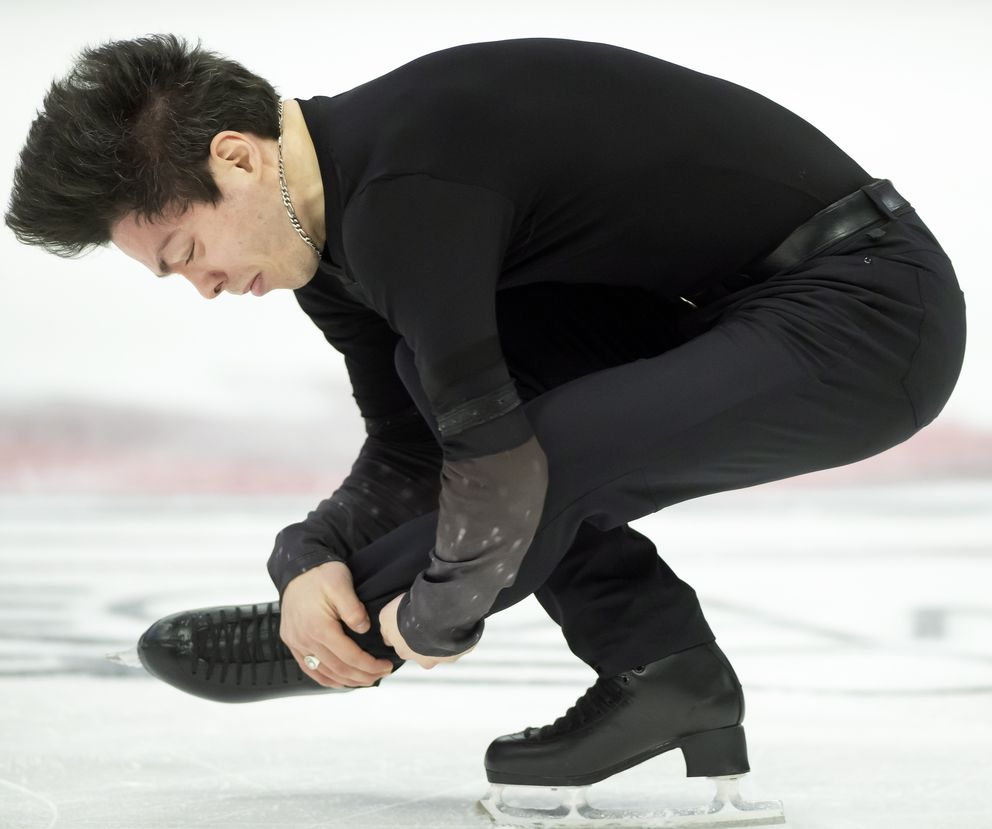 Keegan Messing performs in the men's free skate at the Canadian figure skating championships in Mississauga, Ontario, Saturday, Jan. 18, 2020. (Frank Gunn/The Canadian Press via AP)