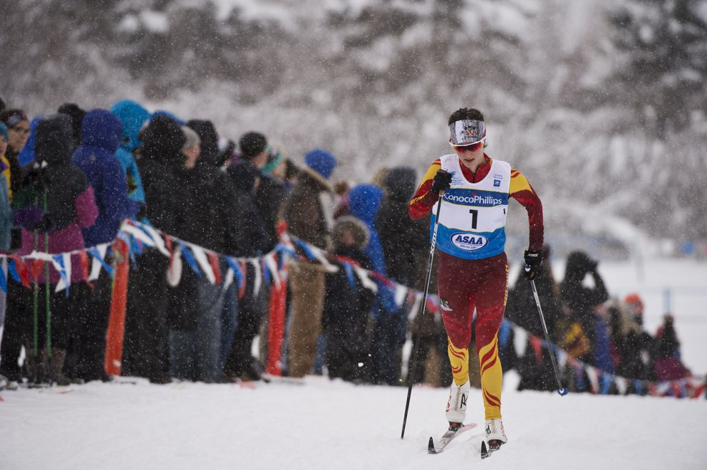 Kendall Kramer of West Valley skis to her third straight Skimeister title (Marc Lester / ADN)
