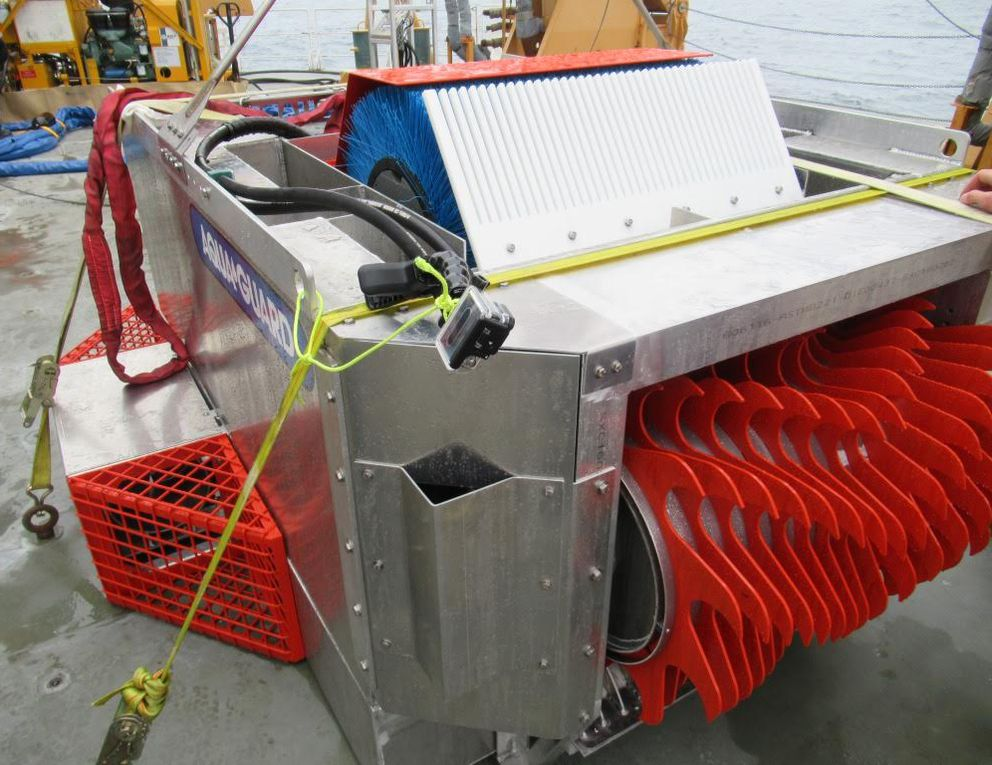 The RotoX oil skimmer sits on the deck of Coast Guard Cutter Healy. (U.S. Coast Guard)