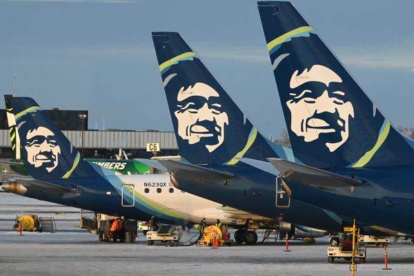 Alaska Airlines passenger jets parked at the terminal at Ted Stevens Anchorage International Airport on Thursday, Nov. 19, 2020. (Bill Roth / ADN)