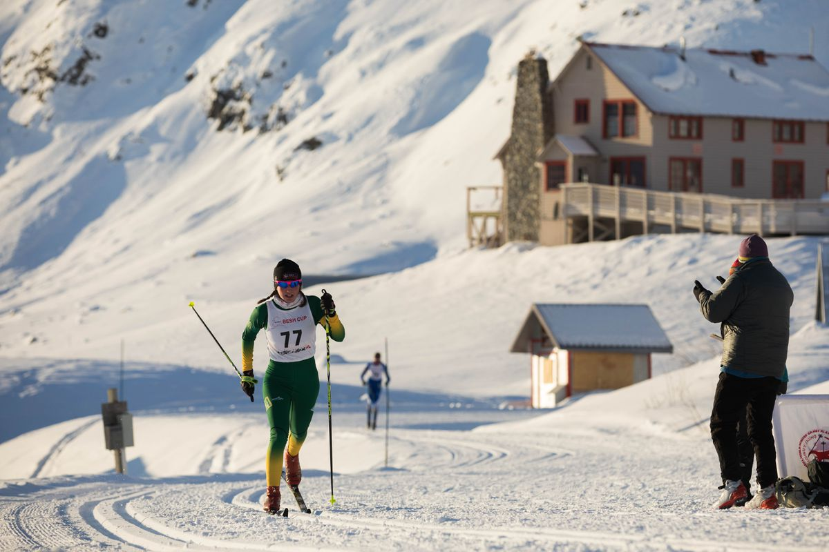 Jenna DiFolco competes in a 7.5 kilometer classic ski race Saturday, Nov. 18, 2017 at Independence Mine in Hatcher Pass. (Loren Holmes / ADN)
