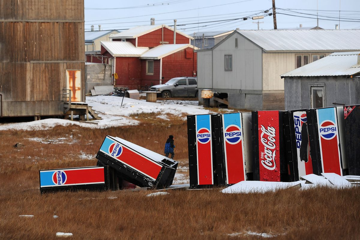 Vending machines are stored on a lot in Utqiagvik in 2015. (Erik Hill / ADN archive)