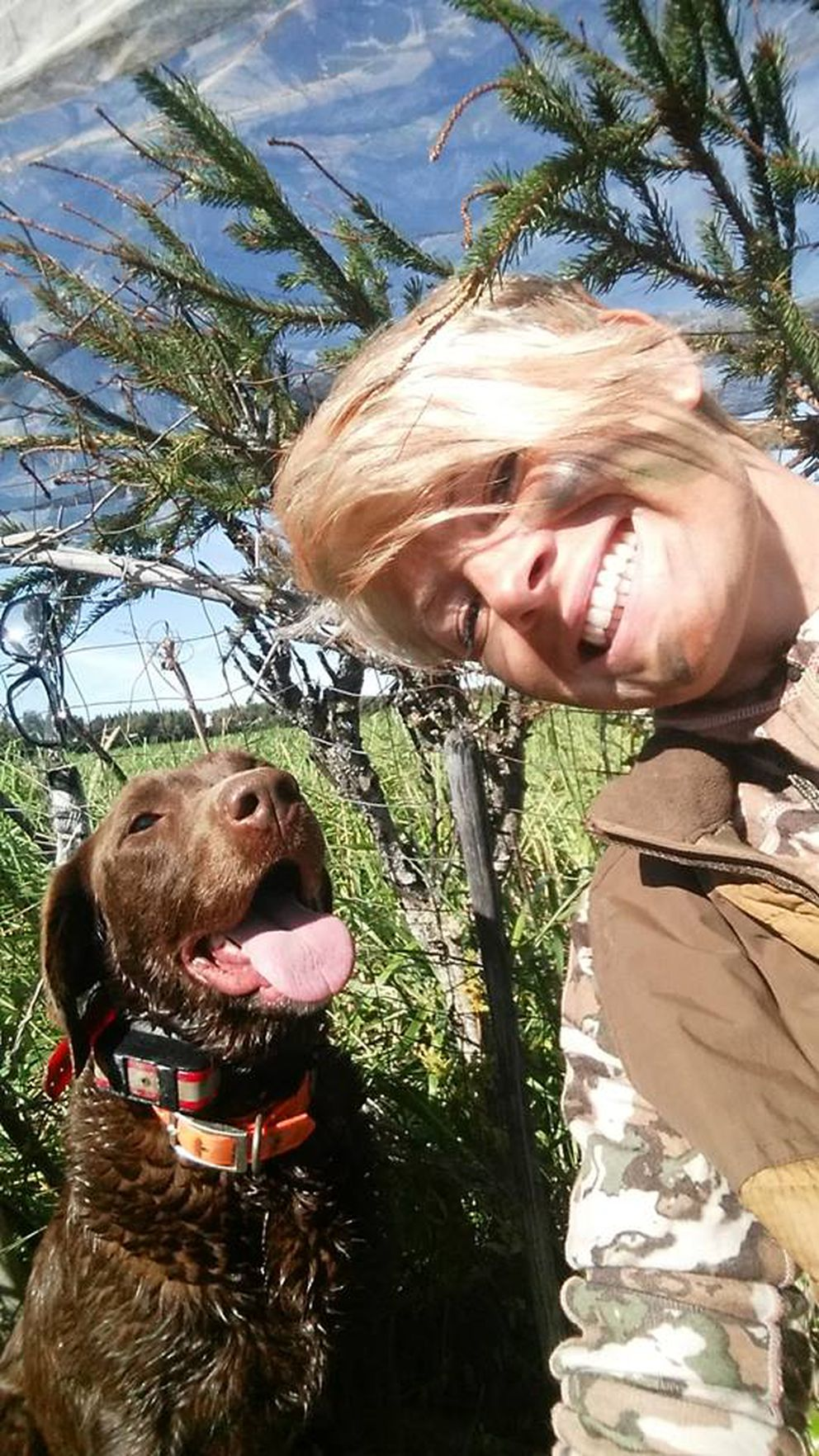 Christine Cunninghamtakes a selfie with her dog Cheyenne during opening day of this year's waterfowl season. (Photo by Christine Cunningham)