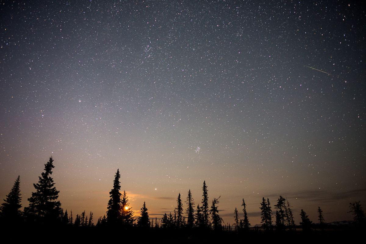 A meteor streaks through the dusky Alaska night sky during a 2012 meteor shower. (Loren Holmes / ADN archive 2012)