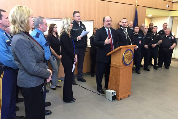 Kevin Clarkson speaks at a press conference at the State Crime Lab in Anchorage, where Gov. Dunleavy announced that Clarkson in Alaska's new Attorney General, Dec. 5, 2018. (Alex DeMarban / ADN)
