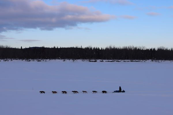 Travis Beals mushes along the upper Kuskokwim River at sunset on the way into the McGrath checkpoint during the Iditarod Sled Dog Race on Tuesday March 9th, 2021. (Zachariah Hughes/for ADN)