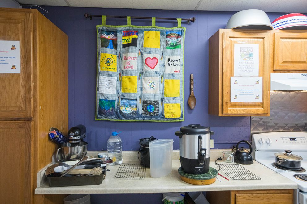 A recovery-themed quilt in the kitchen at the Alaska Mental Health Consumer Web on Thursday, Aug. 1, 2019. The Web allows its members to use the kitchen to cook for themselves or others, and offers cooking classes as well. (Loren Holmes / ADN)