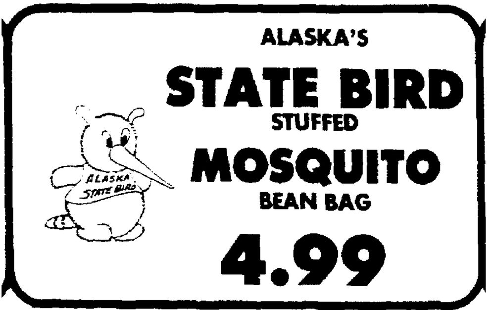 1981 Anchorage Times ad for mosquito state bird plush toy.