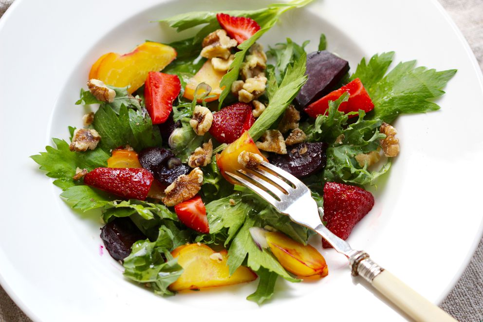 Roasted Beet And Strawberry Salad With Pistachio Photo By Kim Sunee