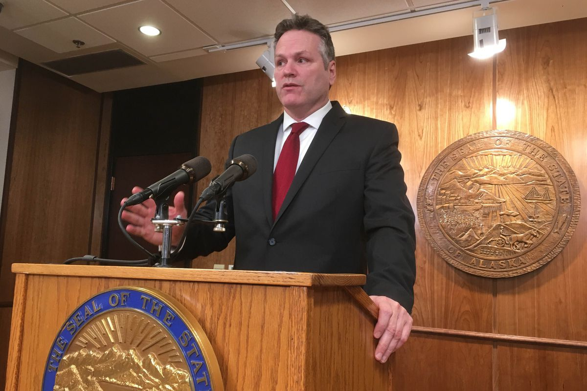 Alaska Gov. Mike Dunleavy announces his budget proposal Wednesday at the State Capitol. (James Brooks / ADN)