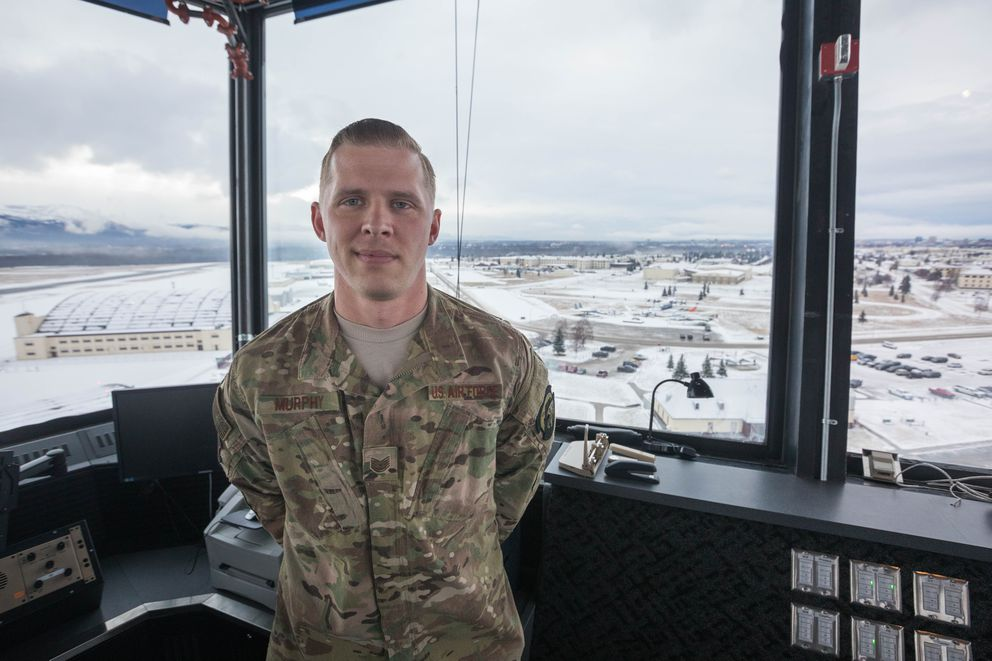 Tech. Sgt. Anthony Murphy, an air traffic controller at Joint Base Elmendorf-Richardson, stands in the control tower on Friday, Dec. 7, 2018. When last Friday's magnitude 7.0 earthquake hit, he was at the top of the stairs, about to relieve a co-worker. (Loren Holmes / ADN)