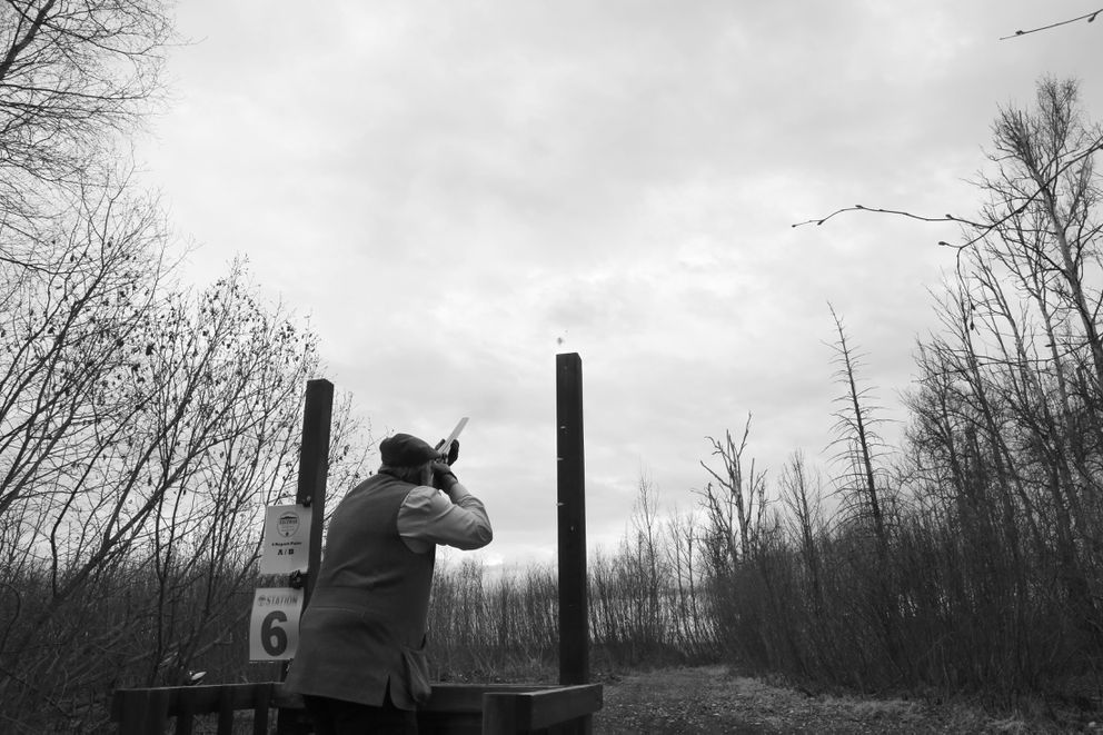 The 100+ year hammer gun turning a clay pigeon to dust. May 2021. (Photo by Steve Meyer)