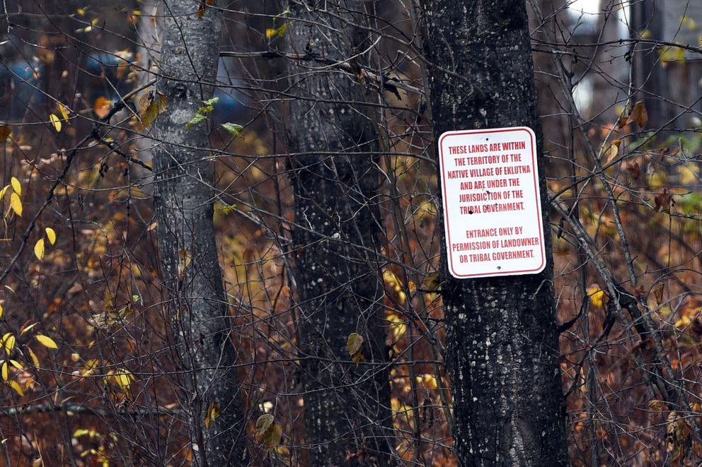 A sign marks private property on land near Birchwood Spur Road in Chugiak at the center of the Native Village of Eklutna's push to open a gaming facility. (Matt Tunseth / Chugiak-Eagle River Star)